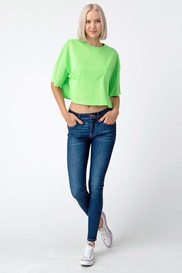 MESH CROP FRONT POCKET TOP