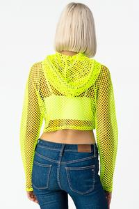 FISHNET HOODIE CROP LONG SLEEVE TOP