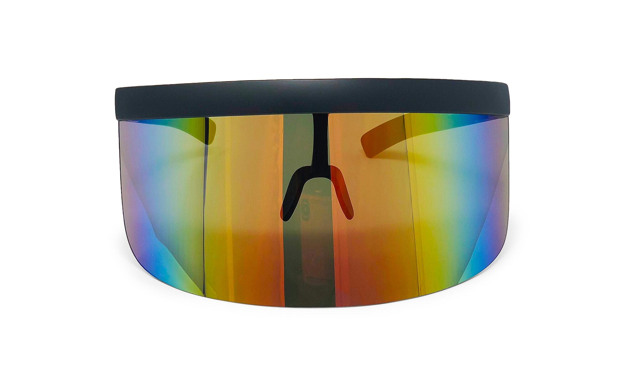 Large Wide Frame Cybertic Sunglasses w/ Mirrored Reflective Lens