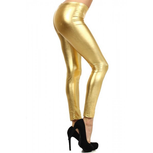 Shiny Metallic Full Length High Quality Leggings Costume - Neon Nation