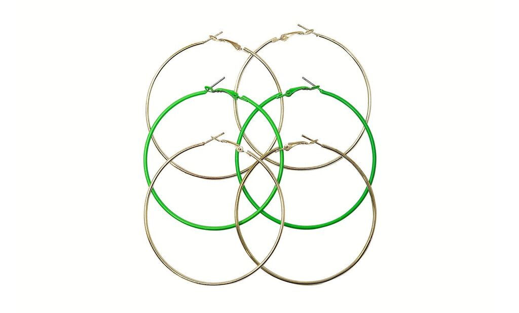 Three Pack Combo Neon Metal Large Hoop Earrings
