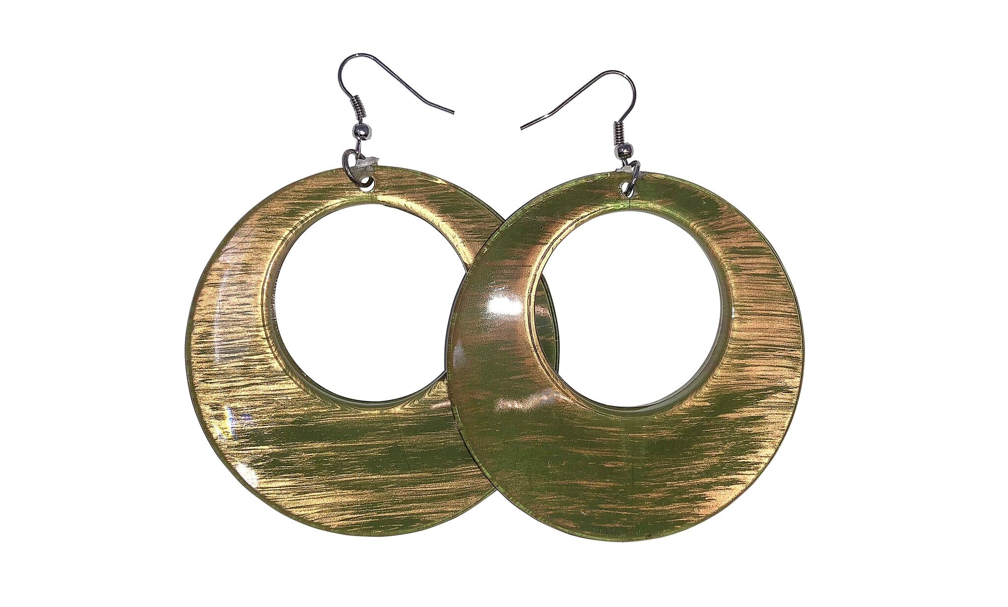 Neon Nation Round Hoop Drop Down Earrings w/Shiny Gold Brush Finish