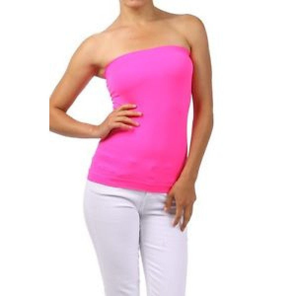 Solid Seamless NEON Pink Strapless Tank Top - Neon Nation