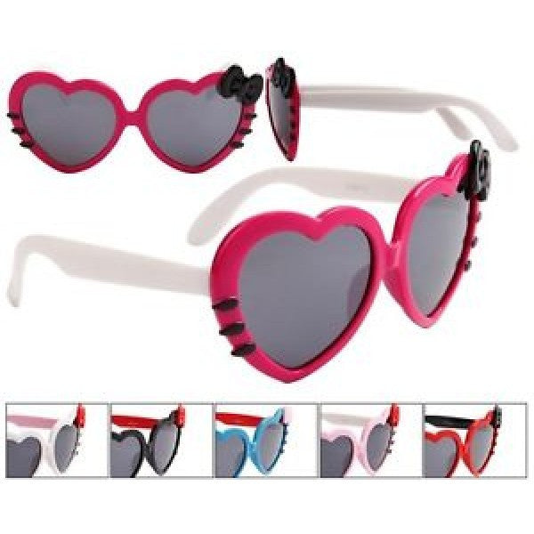 Kids Heart Shaped Sunglasses w/ Colored Bows - Neon Nation