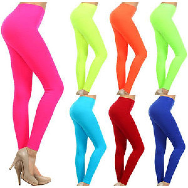 Neon Colored Seamless Full Length Leggings Stretchy Pants Trendy Athletic Style - Neon Nation