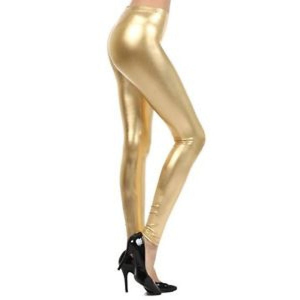 Metallic Footless Liquid Shiny Leggings - Neon Nation