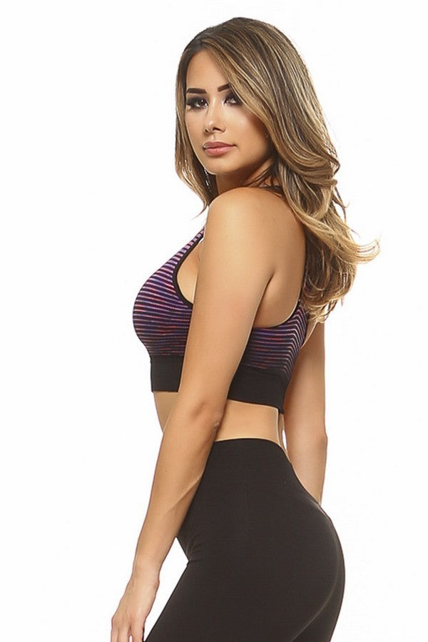 Purple Ombre Striped Athletic Work Out Crop Tank Top