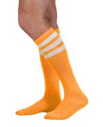 Load image into Gallery viewer, unisex adult size fluorescent neon orange knee high tube sock with three white stripes