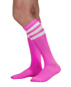 Unisex adult size fluorescent neon purple knee high tube sock with three white stripes