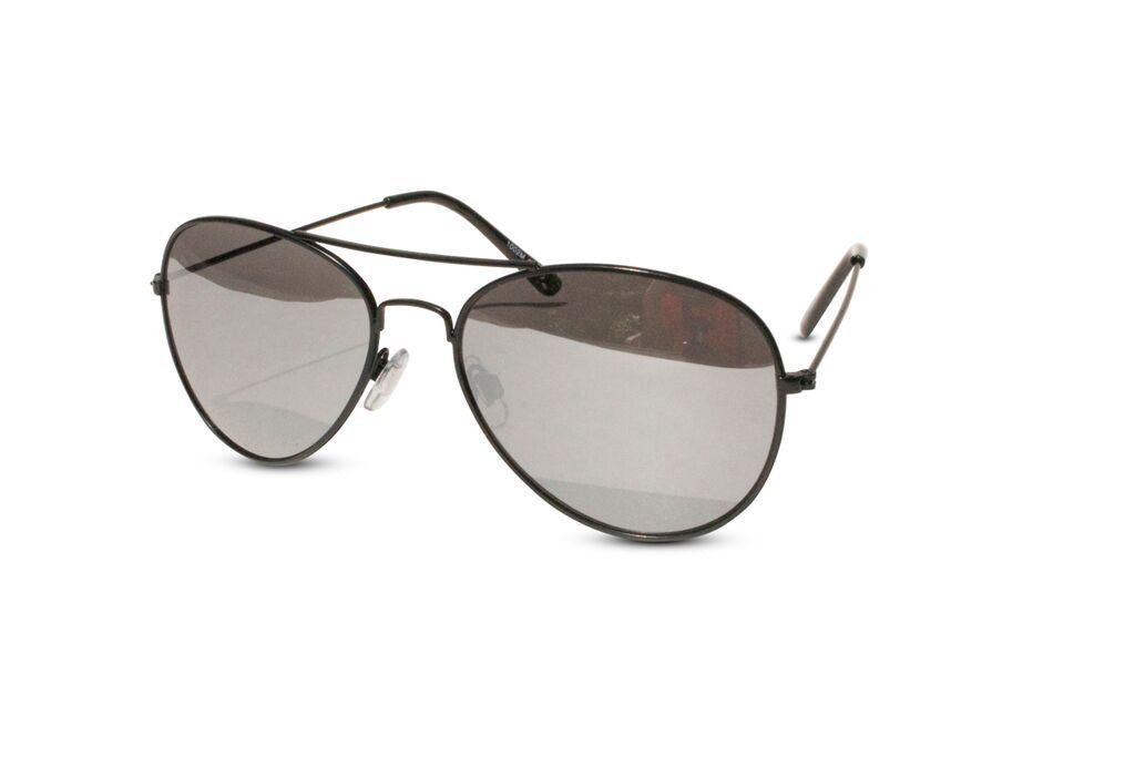 Lot of 12 Pack of Classic Black Frame Aviator Sunglasses w/ Silver Mirrored Lens - Neon Nation