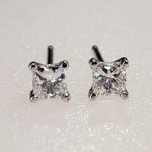 .34ctw. 14K White Gold Princess Cut Diamond Earrings