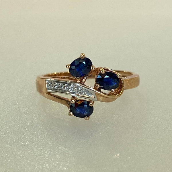 10kt. Rose Gold Sapphire and Diamond Ring