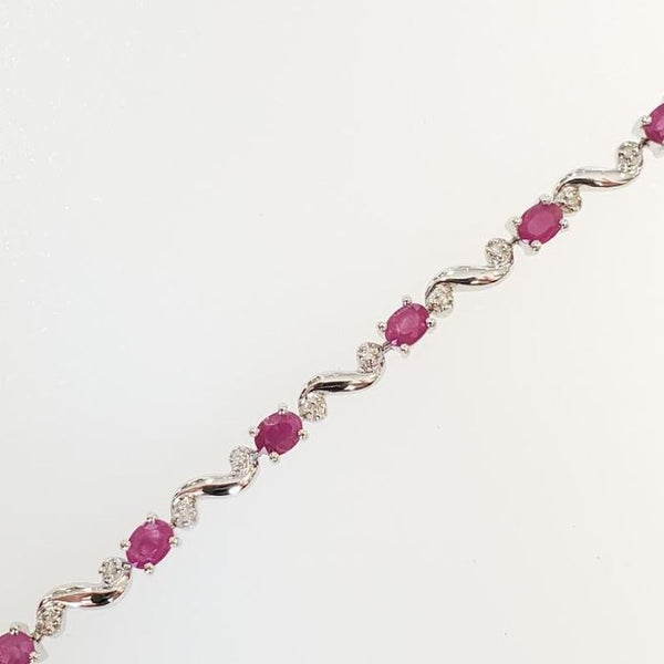 10k White Gold Ruby and Diamond Bracelet