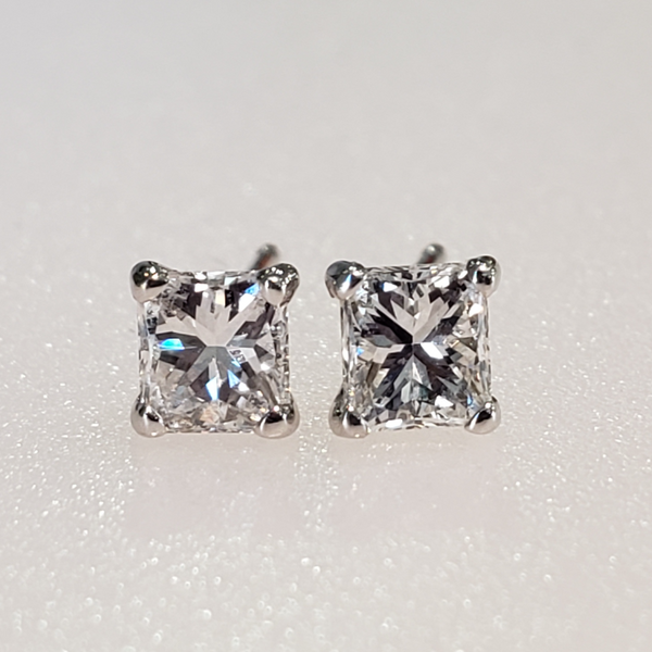.70ctw. 14K White Gold Princess Cut Diamond Earrings