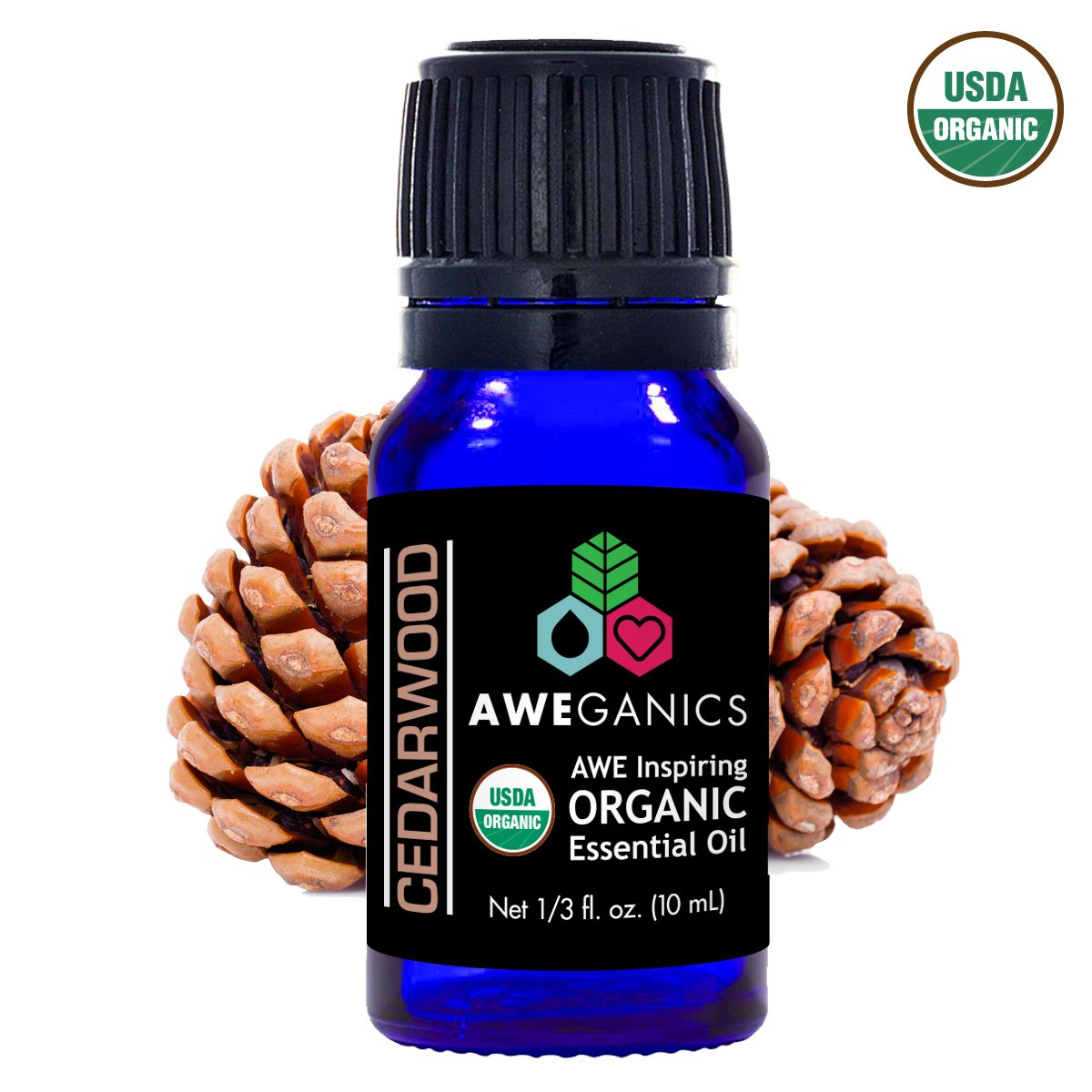 Cedarwood Essential Oil, 10 ml, USDA Organic, 100% Pure&Natural Therapeutic Grade - Aweganics (10 ml) - Pop Fashion