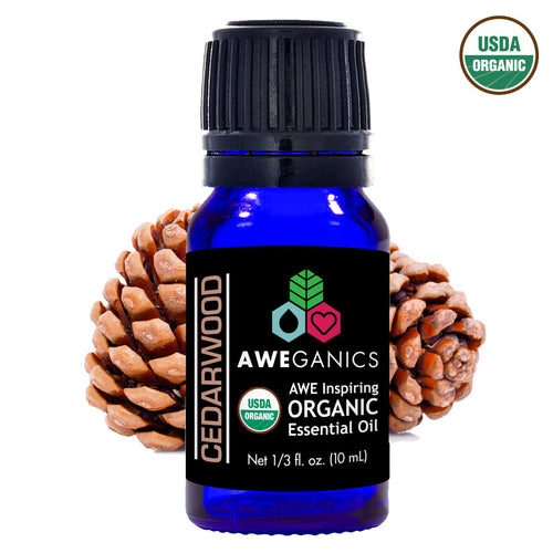 Cedarwood Essential Oil, 10 ml, USDA Organic, 100% Pure&Natural Therapeutic Grade - Aweganics (10 ml)