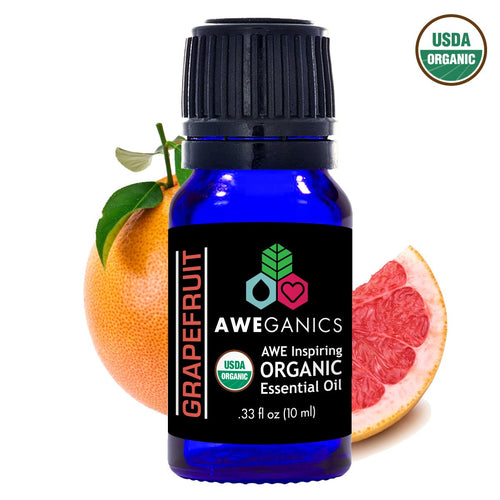 Grapefruit Essential Oil, 10 ml, USDA Organic, 100% Pure&Natural Therapeutic Grade - Aweganics (10 ml)