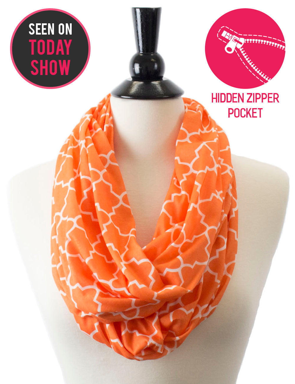 Women's Infinity Scarf with Zipper Pocket, Infinity Scarves with Quatrefoil Patterned Scarf Design & Hidden Zipper Pocket - Pop Fashion