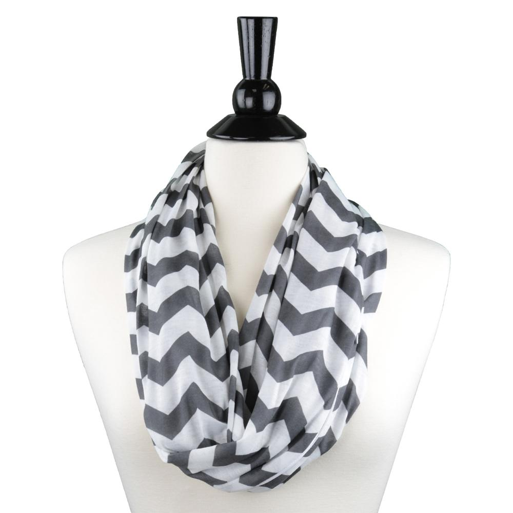 Women's Chevron Print Infinity Scarf with Zipper Pocket, Chevron Scarf Design, Infinity Scarves - Pop Fashion