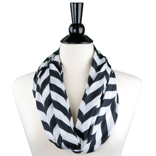 Pop Fashion Women's Infinity Scarf with Zipper Pocket, Chevron, Infinity Scarves