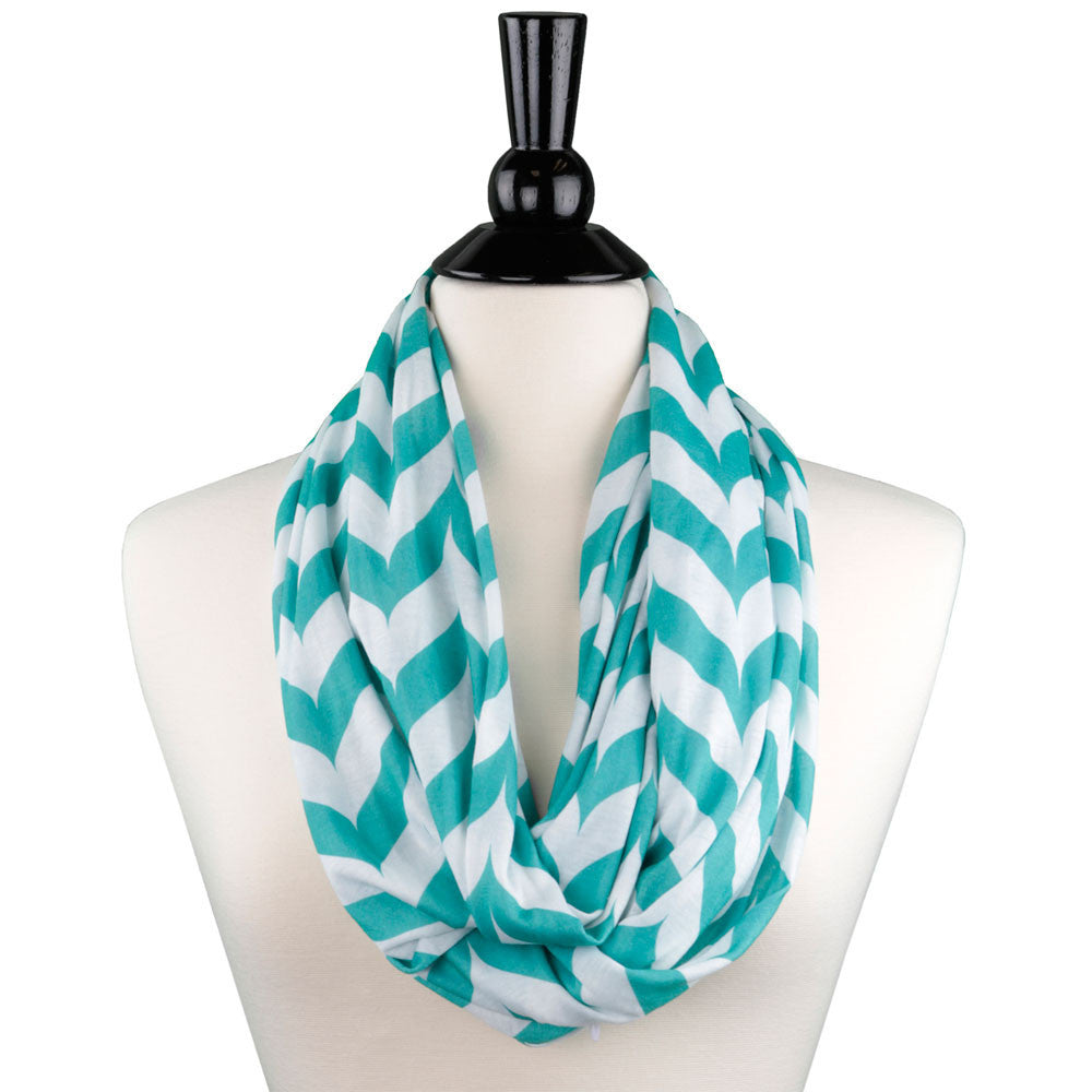 Pop Fashion Womens Infinity Scarf with Zipper Pocket, Chevron, Infinity Scarves