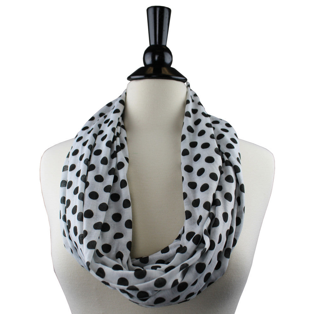 Pop Fashion Women's Infinity Pocket Scarf with Zipper Pocket, Polka Dot Pattern Print Scarf Design, Infinity Scarves - Pop Fashion