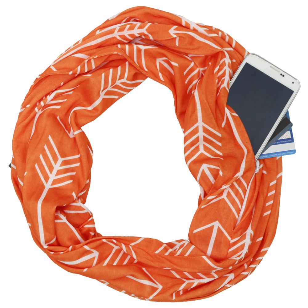 Pop Fashion Women's Arrow Patterned Infinity Scarf with Zipper Pocket, Travel Infinity Scarves - Pop Fashion