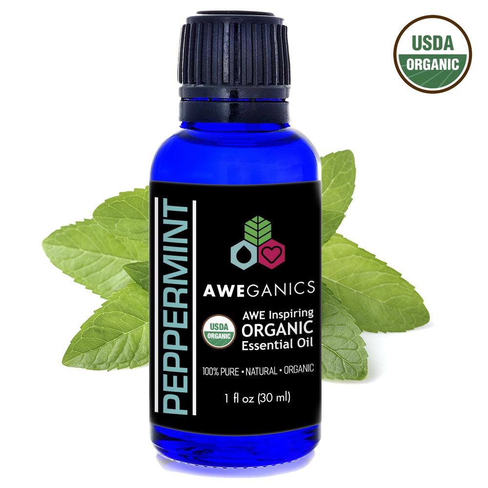 Peppermint Essential Oil, USDA Organic - 100% Pure, Natural Oils, Premium, Therapeutic Grade, Undiluted - Mentha Peperita - 30ml bottle, 1oz - Aweganics - Pop Fashion