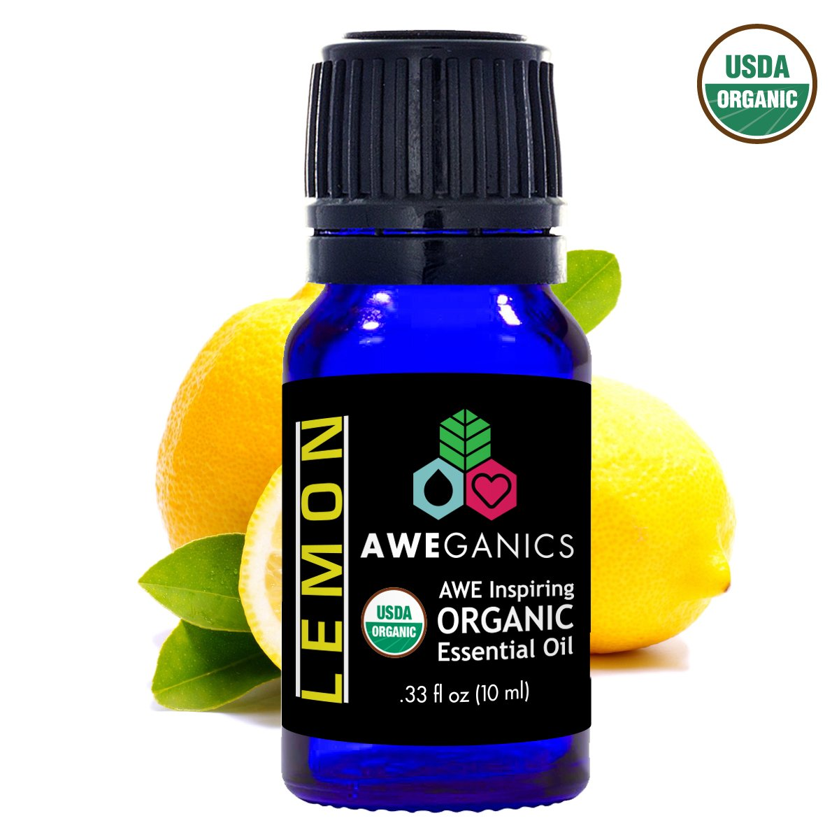Lemon Essential Oil, 10 ml, USDA Organic, 100% Pure&Natural Therapeutic Grade - Aweganics (10 ml)