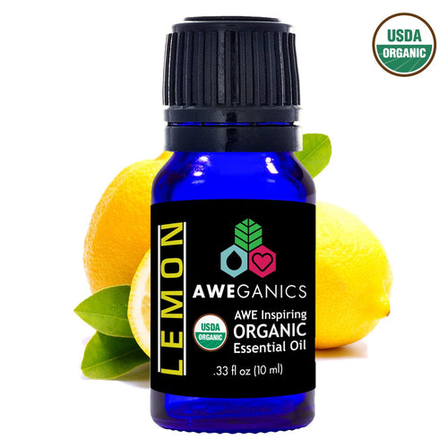 Lemon Essential Oil, 10 ml, USDA Organic, 100% Pure & Natural Therapeutic Grade - Aweganics (10 ml)