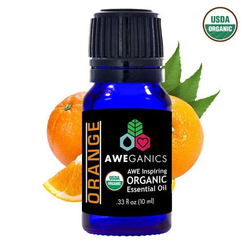 Orange Essential Oil, 10 ml, USDA Organic, 100% Pure & Natural Therapeutic Grade - Aweganics (10 ml)
