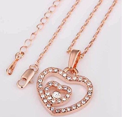 Pop Fashion Rose Gold Plated Double Heart Necklace with Cubic Zirconia Stones - Amazon Prime - Pop Fashion