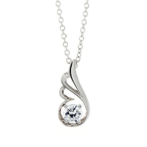 Silvertone Wing Pendant Necklace with CZ Stone - Crystal Stone Color - Pop Fashion