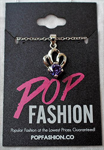 Silvertone CZ Pendant Necklace with Shell Crown Design - Purple Stone - Pop Fashion - Pop Fashion