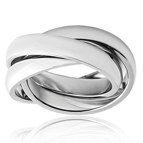 Silvertone Triple Interlocking Ring - Designer Inspired Fashion Ring - Pop Fashion ?