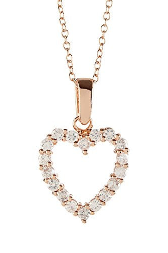 Gold Heart Necklace with Cubic Zirconia Stones - Open Heart Pendant - Pop Fashion