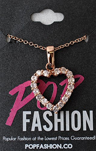 Gold Heart Necklace with Cubic Zirconia Stones - Open Heart Pendant - Pop Fashion - Pop Fashion