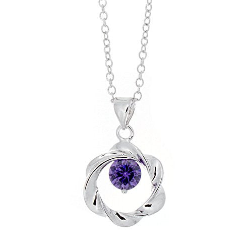 Silvertone Open Twist Cubic Zirconia Circle Pendant Necklace - Purple CZ Stone - Pop Fashion