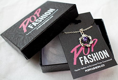 Silvertone Open Twist Cubic Zirconia Circle Pendant Necklace - Purple CZ Stone - Pop Fashion - Pop Fashion