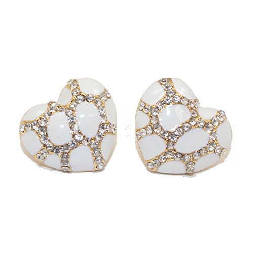 Heart Stud Earrings with Studded CZ Diamond Pattern - Gold with White - Pop Fashion