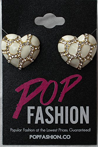 Heart Stud Earrings with Studded CZ Diamond Pattern - Gold with White - Pop Fashion - Pop Fashion