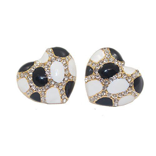 Heart Stud Earrings with Studded CZ Diamond Pattern - Gold with White and Black - Pop Fashion