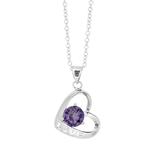 Love Necklaces, Open Hearts Necklace with Love inscription, Silvertone Heart Pendant I Love You, Purple