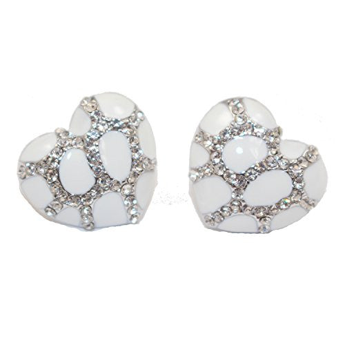 Heart Stud Earrings with Studded CZ Diamond Pattern - Silvertone with White - Pop Fashion
