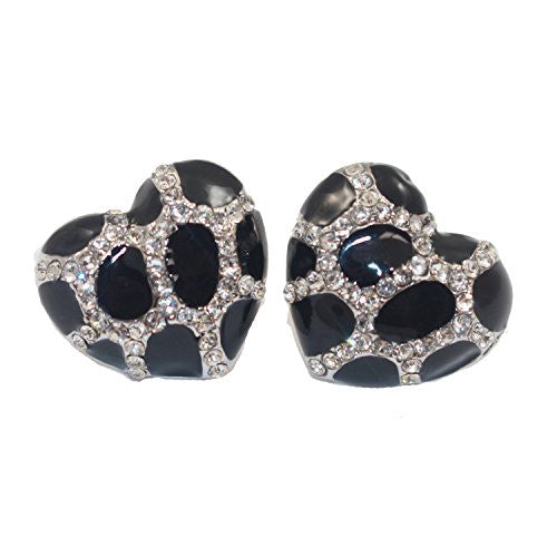 Heart Stud Earrings with Studded CZ Diamond Pattern - Silvertone with Black - Pop Fashion
