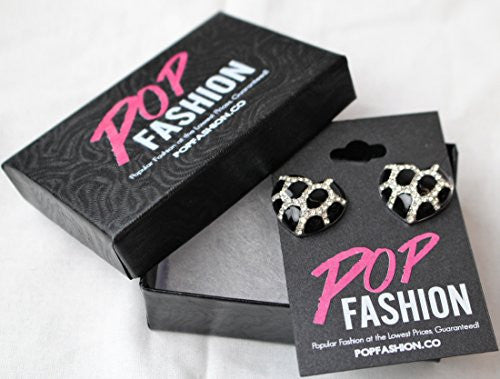 Heart Stud Earrings with Studded CZ Diamond Pattern - Silvertone with Black - Pop Fashion - Pop Fashion