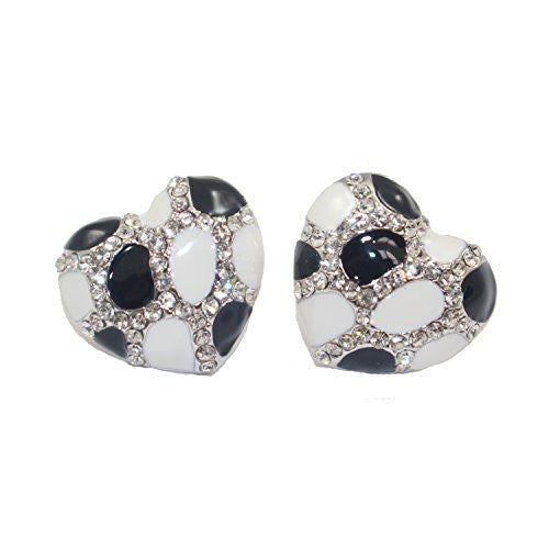 Heart Stud Earrings with Studded CZ Diamond Pattern - Silvertone with Black and White - Pop Fashion
