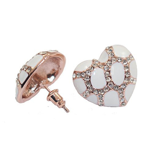 Heart Stud Earrings with Studded CZ Diamond Pattern - Rose Gold Plated with White - Pop Fashion