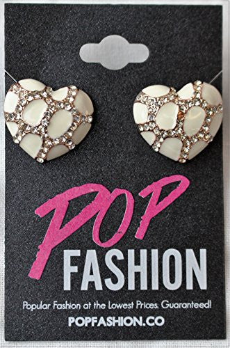Heart Stud Earrings with Studded CZ Diamond Pattern - Rose Gold Plated with White - Pop Fashion - Pop Fashion