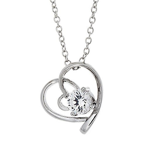 Silvertone Pendant Necklaces, CZ Open Heart Necklace - Jewelry for Women, Girlfriend Gifts